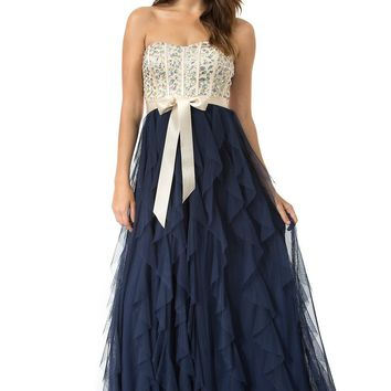 Teeze Me | Queen Colleen Strapless Corset Jewel Beaded Full Tulle Ruffle Skirt Party Dress | Champagne/Navy