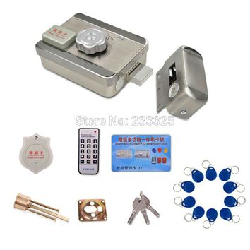 25pc chip key tags Door & gate lock Access Control system Electronic integrated RFID ID Reader Door Rim lock for intercom