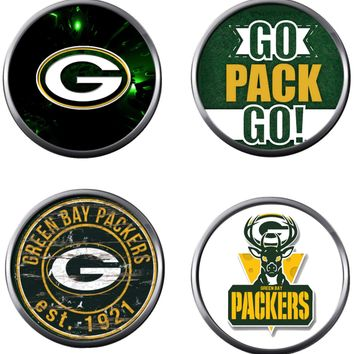 NFL Set of 4 Green Bay Packers Football Logo 18MM - 20MM Snap Jewelry Charms New Item
