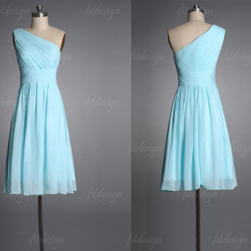 tiffany blue bridesmaid dress, short bridesmaid dress, chiffon bridesmaid dress, custom bridesmaid dress, cheap bridesmaid dress, 140083