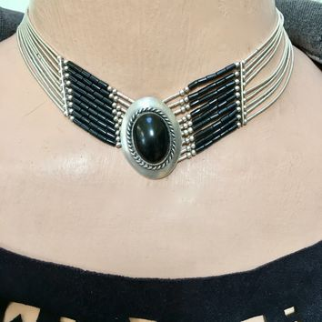 Liquid Silver Southwestern Choker Necklace Sterling