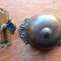 Antique Victorian Fancy Mechanical Doorbell & Ornate Bronze Twist Pat. 1893