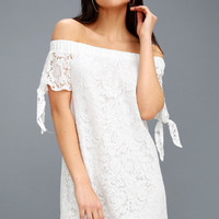 Divine to Five White Lace Off-the-Shoulder Shift Dress