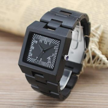 Rectangular Ebony Wooden Watch with Silver Scale