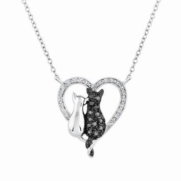 Fashion Black White Plated Simple Lovely Cat Bowknot Animal Pendant Necklace For Women Party Jewelry Best Valentine's Day Gift