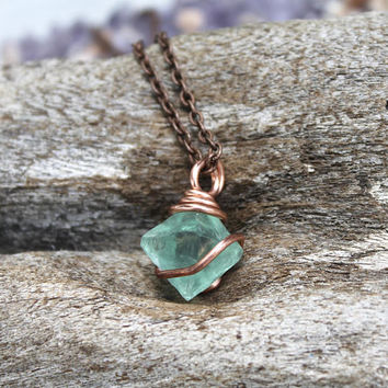 Fluorite Octahedron Necklace - Green Stone Pendant - Green Fluorite Jewelry - Copper Jewelry - Festival Fashion - Bohemian Jewelry Boho Chic