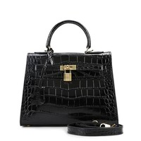 House Of Hello Women's Genuine Leather KL Style Crocodile Grain Top-handle-bags