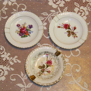 3 lovely vintage floral ashtrays - porcelain - gold accents - 2 are JAPAN - 1 is BETSON'S Handpainted