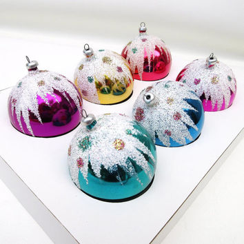 Vintage Tree Ornaments, Christmas Balls, Snow Cap Mica Decoration, Set of 6, Original Box