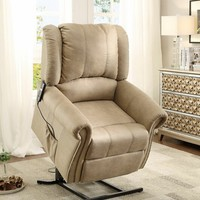 Iola collection taupe fabric upholstered power lift recliner chair with nail head trim