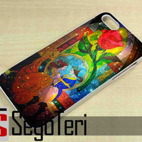 Disney Beauty and the Beast Stained Glass on Galaxy - iPhone 4/4S, iPhone 5/5S, iPhone 5C and Samsung Galaxy S3, S4