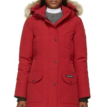 Canada Goose Red Down And Fur Trillium Parka| Best Deal Online