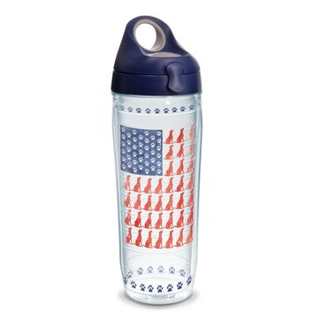 Tervis Project Paws Dog Flag with navy lid, 24 oz. water bottle