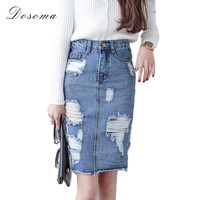 Skirt Women 2Vintage Ripped  Skirt Jeans