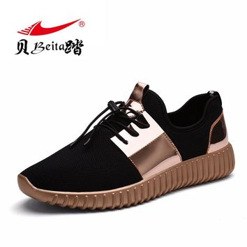 Beita 2017 New design Outdoor Sport Couple Running Shoes Big size Breathable Mesh Sneakers Men and Women Golden Walking shoes