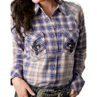 Rock 47™ by Wrangler® Women's Blue and Orange Plaid with Black Crosses Long Sleeve Western Shirt