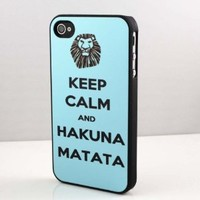 Babyblue Hakuna matata Snap on Case Cover for Apple Iphone 4 Iphone 4s Cellphone Case