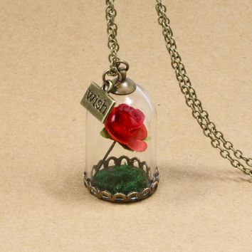 NingXiang 2017 New Arrival Forever Red Rose Flower Glass Wish Bottle Necklace For Women Handmade Beauty And The Beast Necklaces