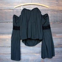 black off the shoulder boho top