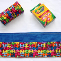 Crayon Roll, Autism Awareness, Crayon Holder, Puzzle Pieces, Birthday Party Favor, Support Autism Awareness, 16 Crayola Crayons Included,