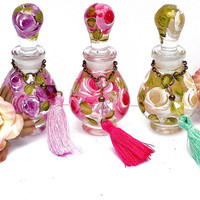 Mini Perfume Bottle Painted Roses Shabby Cottage Chic Victorian Decor FREE SHIPPING