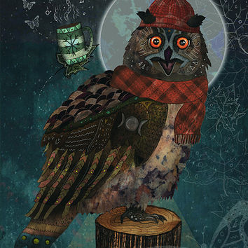 Bubo Bubo - Giclee Print /// Owl Illustration, Owl Art, Owl Print, Whimsical Art, Moon, Nature, Animals, Birds, Funny, Quirky, Dorm Decor
