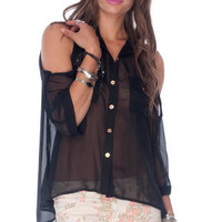 Mon Sheery Button Down Blouse in Black :: tobi