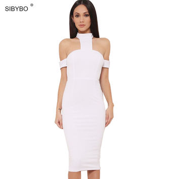 High Neck Off Shoulder Backless Women Dress