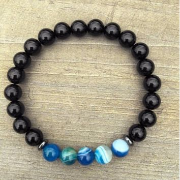 """The Spire"" Black and Blue Beaded Bracelet"