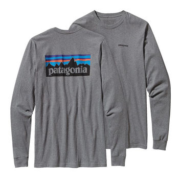 Patagonia Men's Long Sleeved P-6 Logo Cotton Tee- Gravel Heather