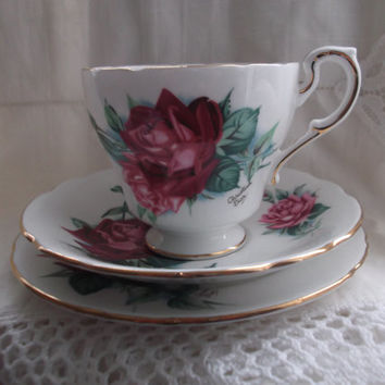 Paragon cup, saucer and plate (trio) - Christian Dior Rose