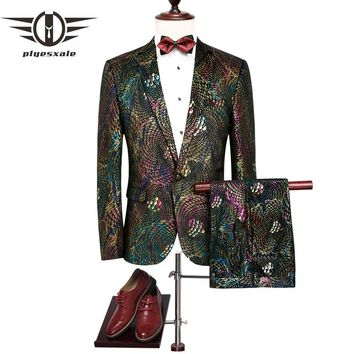 Men Slim Fit Men Paisley Suit Latest Coat Pant Designs Colorful Stage Wear Wedding Prom Suits