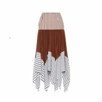 High Waist Plaid Contrast Color Patchwork Pleated Skirt