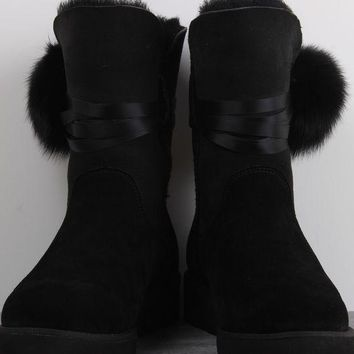 UGG 1018518 Wedges Tall Ribbon Hair Ball Women Men Fashion Casual Wool Winter Snow Boots Black