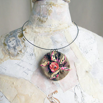 Textile pendant textile jewelry flower shabby chic leather vintage inspired paper flower wearable art pink peach steampunk romantic creamy