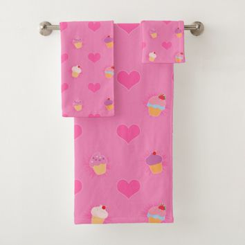 Pink Cupcake Pattern Bath Towel Set