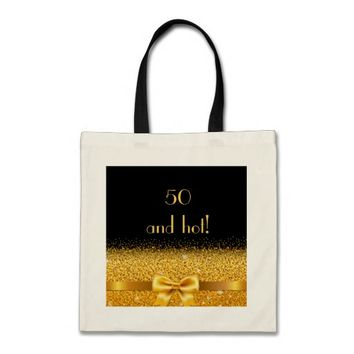 50 and hot elegant gold bow on black tote