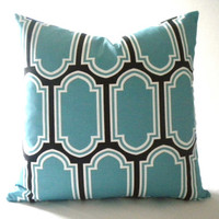 Blue Geometric pillow cover with black accent, fabric both sides, all sizes available
