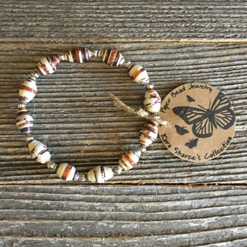 Paper Bead Bracelet, Brown/Cream Beaded Bracelet, Paper Bead Jewelry, Stretchy Bracelet, Gift for Women, Stocking Stuffer - Item# 060