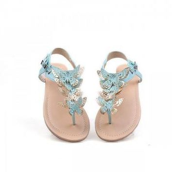 Solid Hollow Butterfly Flat Sandals