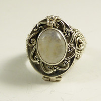 Balinese Poison Rainbow Moonstone Sterling Silver Ring
