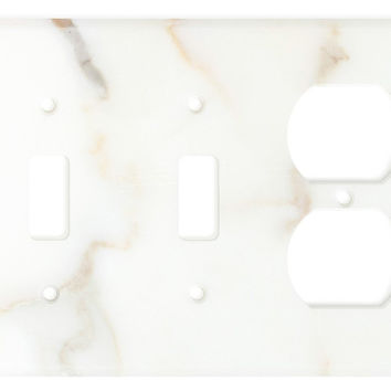 Italian Calacatta Gold Marble Double Toggle Duplex Switch Wall Plate / Switch Plate / Cover - Honed