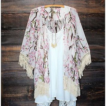 Women Chiffon Vintage Kaftan Cardigan Print Tops Blouse Beach Cover Up Lace Tassel Long Sleeve Kimono Shirt Summer