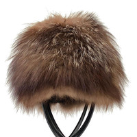 Vintage 1960s luxurious brown fox fur, pillbox hat with blonde highlights and black satin lining