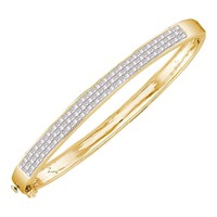 14kt Yellow Gold Womens Princess Invisible-set Diamond Bangle Bracelet 2.00 Cttw