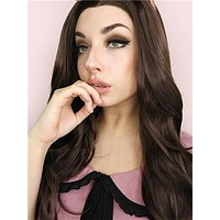 Long Chestnut Brown Wave Synthetic Lace Front Wig