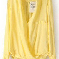 V Neck Cross Dipped Hem Yellow Blouse