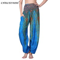 CHRLEISURE Women Bohemian Harem Pants Summer Beach Printed Trousers Fashion Plus Size Bloomers Boho Pants Women