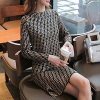 Fendi Women Bodycon Long Sleeve Dress