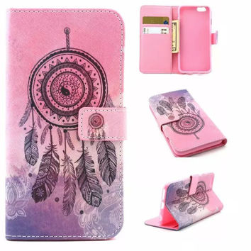 Dreamcatcher creative case Cover PU Leather Wallet for iPhone & Samsung Galaxy S6  iPhone 6s Plus